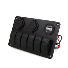Vehemo 5 Gang Switch Control Panel Circuit LED Breaker Boat Marine LCD Display