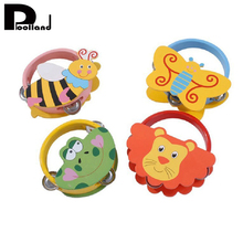 Kid Wooden Bell Drum Rattle Toy Handbell Musical Educational Instrument Toys Wooden Toy Gift Tambourine Toy Gift P20(China)