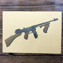 "Top fashion RMG-116 ""US Chuck machine gun"" vintage kraft paper wall art sticker poster vintage pictures for house bar 42x30 cm"