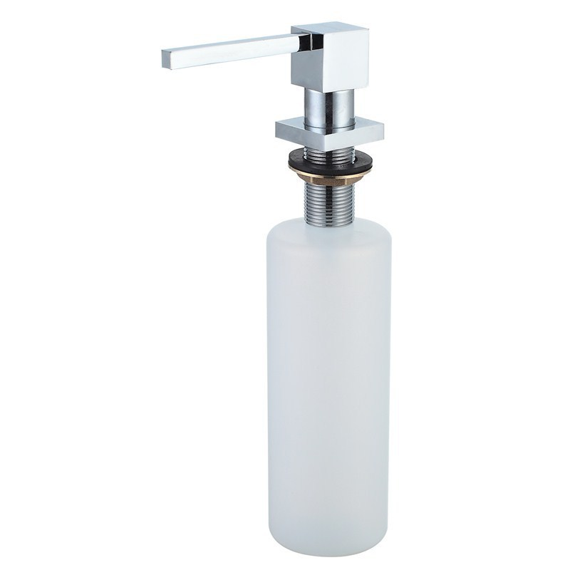 Image Wholesale Promotion High Quality Square Style Chrome Solid Brass Kitchen Sink Soap Dispenser