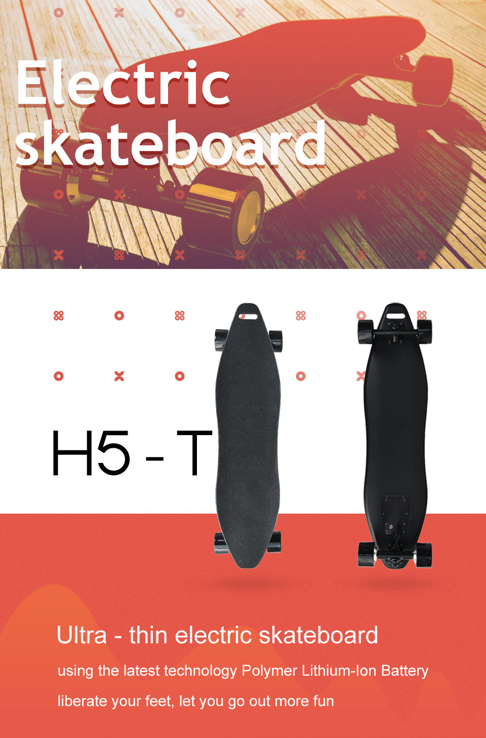 4 Wheel Electric Skateboard Scooter Electrico hoverboard (1)