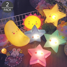 Dcloud 2017 New Product Moon Star Sun LED Night Light Energy Saving Creative Cartoon Festival Gift for Everywhere 2 Pack(China)