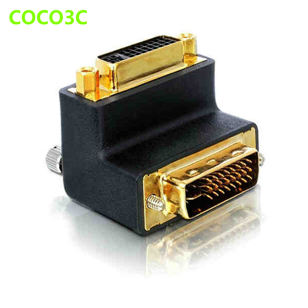 24+5 Pin 90 degree angle DVI Male to Female Port Cable adapter Monitor Connector 10.2Gbps DVI Video Extension converter