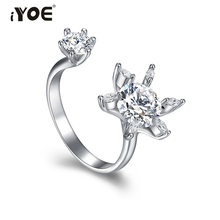 IYOE Fancy Flower CZ Crystal Knuckle Rings Modern Style Opening Cocktail Party Rings Wedding Brand Jewelry For Women