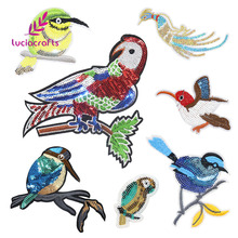 Lucia crafts Paillette Sequin Embroidery Birds Patches Applique Iron-on Sew Clothes DIY Patchwork Decoration Accessory 082007298(China)