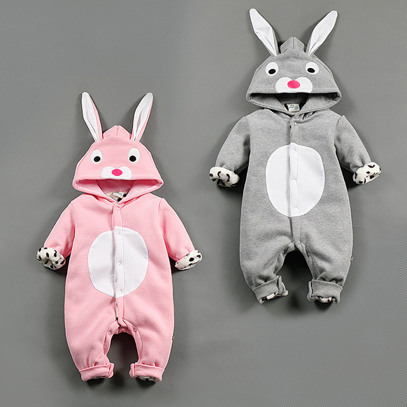 Fashion Baby rompers winter plush jumpsuit rabbit baby Boy Girl clothes body bebe clothing warm newborn rompers with hooded<br><br>Aliexpress