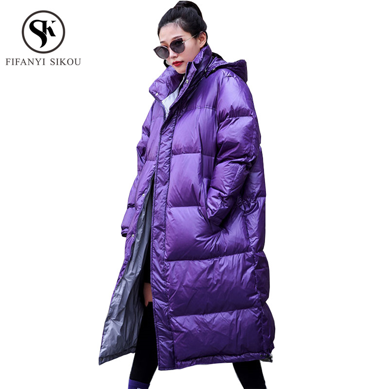 2018 New Winter coat women Fashion Print Parkas Warm Outerwear Streetwear Hooded Jacket Female Coats Plus size Parka Overcoat