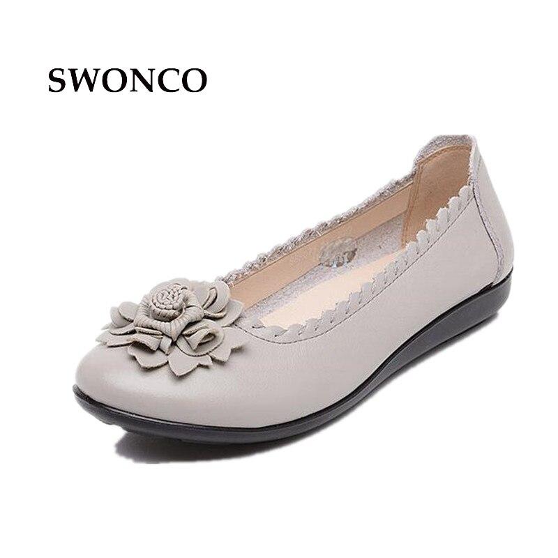 SWONCO Womens Flats Ladies Shoe Fashion Flower Genuine Leather Female Shoe Ladies Shoes Leather Slip On Comfortable Women Shoe<br>