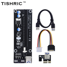TISHRIC 2017 New VER006 PCI Express Riser Card USB 3.0 PCI-E extender 60cm 1x to 16x SATA 4Pin Molex Power for BTC Miner Machine