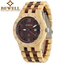 Top Brand BEWELL Wood Watch Men Wooden Vintage Mens Watches Three Dial Date Display Quartz Repair Kit Wrist Watch Gifts Box 109A(China)