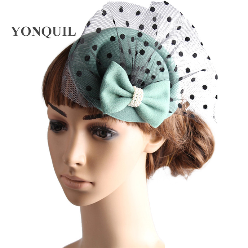 top hats party hats with veils for wedding derby fascinators  bridal veils party hair accessories cocktail hats 7 colors MYQ103