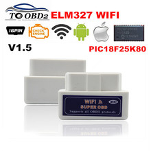 REAL PIC18F25K80 Chip Super OBD2 ELM327 WIFI V1.5 Hardware Works Android/iOS ELM 327 Bluetooth For Android Phone Works Diesel(China)