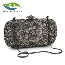 Mystic River Women Evening Bags Quality Fantasy Flower Party Purses Grey Crystal Clutches Wedding Bag(China)