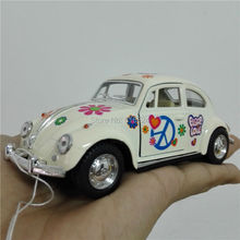 5'' DieCast Metal Pull Back 1967 Volkswagen Classical Beetle printing (Pastel Color) 1:32 Alloy Kinsmart Diecast model toy cars