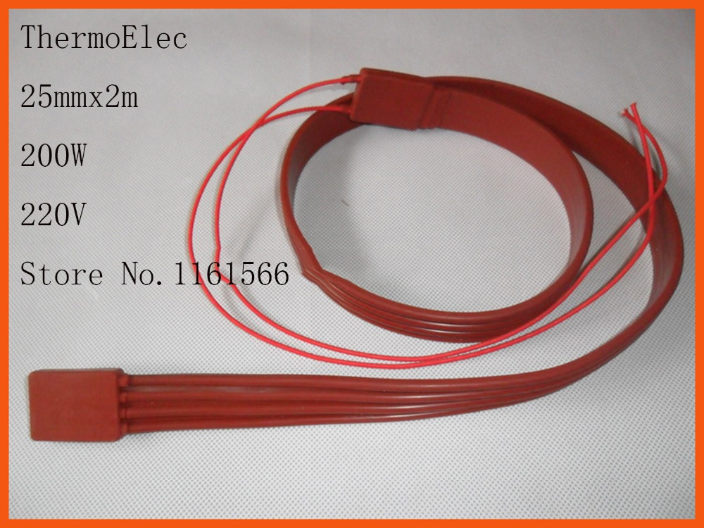 25mmx2m 200W 220V High quality flexible Silicone Heating belt heat tracing belt Silicone Rubber Pipe Heater waterproof<br><br>Aliexpress