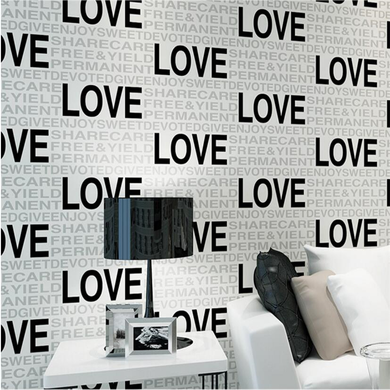 beibehang simple English alphabet flocking non - woven wallpaper living room bedroom backdrop restaurant walkway wallpaper<br>