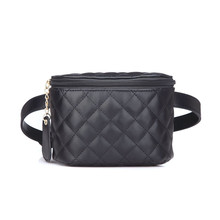 Fashion Brand Lattice Ladies Bag High Quality Waist Fanny Pack Belt Bag Pouch Travel Hip Bum Bag Women Leather Small Purse(China)