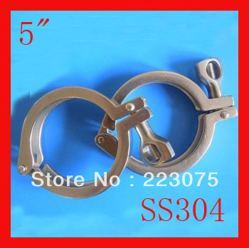 Free shipping 5 Single SS304  sanitary Triclamp stainless steel Heavy Duty Clamp for ferrule Wing Nut<br>