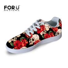 FORUDESIGNS Brand Women Shoes Fashion Punk Style Skull Printed Casual Shoes Female Ladies Walking Shoes Female Flat Shoes Mujer
