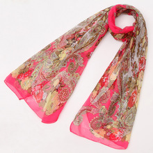Cheap Wholesale Floral Chiffon Foulard Scarf Women Spring Summer Noble Luxury Brand Office Lady Gift Wrap Shawl Scarfs
