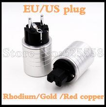 High quality  Hifi  aluminum 24K Gold / Rhodium/Red copper plated  IEC connector EU Schuko EUR power plug  extension adapter