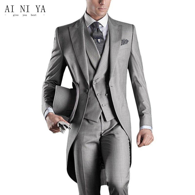 New mens slim fit suits men tuxedo gray (wedding) suits best man suit three pieces of the groom wedding peak lapel men suit