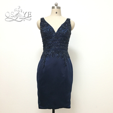 Navy Blue Crystal Beading Knee Length Mother of the Bride Dresses 2017 Real Photo V Neck Satin Formal Evening Party Gowns
