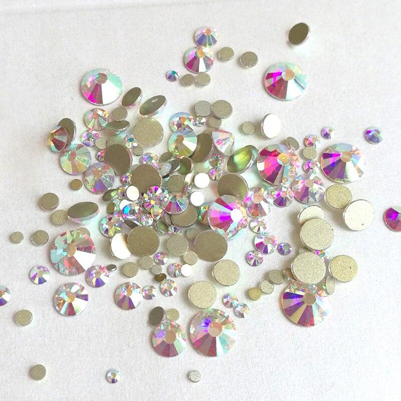 Mix Размеры кристалл АВ, не исправление Flatback стразами Nail rhinestoens для ногтей 3D Nail Art украшения Драгоценные Камни Свободные Стразы(China)