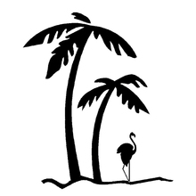 Wholesale 10pcs/lot 20pcs/lot Novelty Palm Tree & Flamingo JDM Car Window Door Truck Auto Rear Windshield Fuel Tank Cap Vinyl