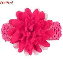 SunWard Headbands Newly Design Little Girls Big Flower Elastic Lace Hair Accessories 160405 Drop Shipping