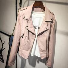 2018 coat brand motorcycle PU leather jacket female autumn winter new fashion coat pink black zipper coat jacket new za HOT