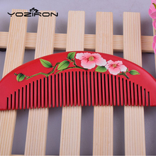 2017 lacquer art hand-painted customizable creative wedding wooden comb Natural peach combs hair massage Y035