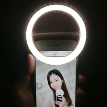 USB Rechargeable battery 4 levels selfie light Led Camera Phone Photography Ring Light Enhancing Photography for iPhone Samsung(China)