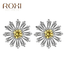 ROXI New Romantci Stud Earrings Silver Color Passionate Sunflower Shape Yellow Zircon Women Girls Daisy Earrings Jewelry