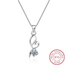 925 Sterling Silver Fine Jewelry Pendant Necklace Heart Love Collar Women Female Wedding Party Gift 18inch Ribbon Jewels N0025