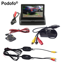 "Podofo 3 in1 Wireless Car Reverse Backup Camera Radar Detector System 4.3"" LCD Rearview Monitor For Vehicle"