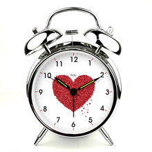 brief modern silent night light little red hearts alarm clock home Control LED display electronic desktop Digital table Clock