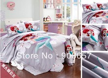 twin full queen king duvet covers cotton bedding set cute The Mermaid Princess print children's girls boy's bed linens 3pcs 4pcs