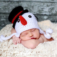 Crochet Knit Baby Beanie Snowman Pattern Earflap Cap Newborn Photography Props Xmas Hat Party Costume
