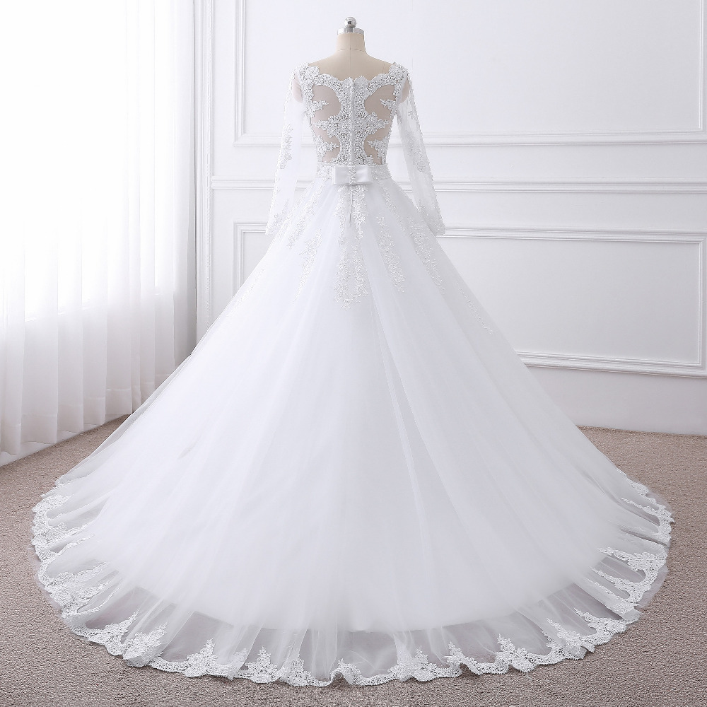 2017 new Vestido de noiva Long Sleeves Wedding Dresses Sexy Back Bride Dresses Wedding Gowns Princess Casamento Robe de Mariage 2