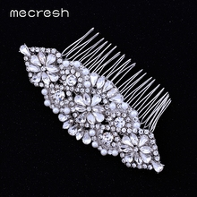 Mecresh Synthetic Imitated Pearl  Bridal Combs for Women With Flower Crystal Hair Decoration for Wedding Prom FS071