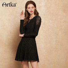 Buy Artka Women's Lace Dress Basic Edition 2017 Autumn Dress Female Long Sleeve Knitted Women's Dress Black Sexy Dress LA10379Q for $42.89 in AliExpress store