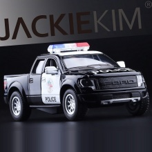 High Simulation Exquisite Diecasts&Toy Vehicles: KiNSMART Car Styling Ford F150 Raptor Police CCar 1:46 Alloy Diecast SUV Model