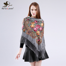 [Marte&Joven] Ethnic Style Big Flower Printing Women Square Blanket Scarves Shawl Hot Sale Winter Warm Fringed Pashmina Stoles