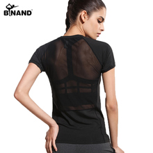 Women Short Sleeve Sports Quick Dry T-shirt Fitness Sports Running Athletic Tee Solid Round Collar Mesh Hollow Out Yoga shirt(China)