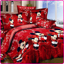 Red Mickey and Minnie Mouse King Queen Twin Cartoon 4PCS Bedding Set Cotton Bed Sheet Linens Duvet/Quilt/Comforter Cover Set