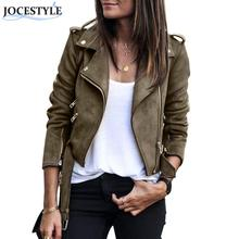 Women Zipper basic Suede Jacket Coat Casual Long Sleeve motorcycle leather jacket Women outwear belted short winter jackets(China)