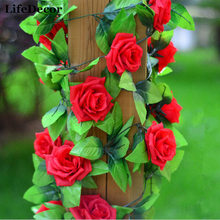 Silk Roses Large Artificial Flowers Garland for Wedding Party Decoration Home Wall Hangings 2.4m Fake Flower Green Leaf Vines(China)