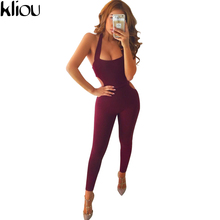 Kliou 2017 Sexy Sleeveless Backless Jumper Striped Bodysuit Overalls Women Bodycon Jumpsuits and Rompers Casual Sporting Suits