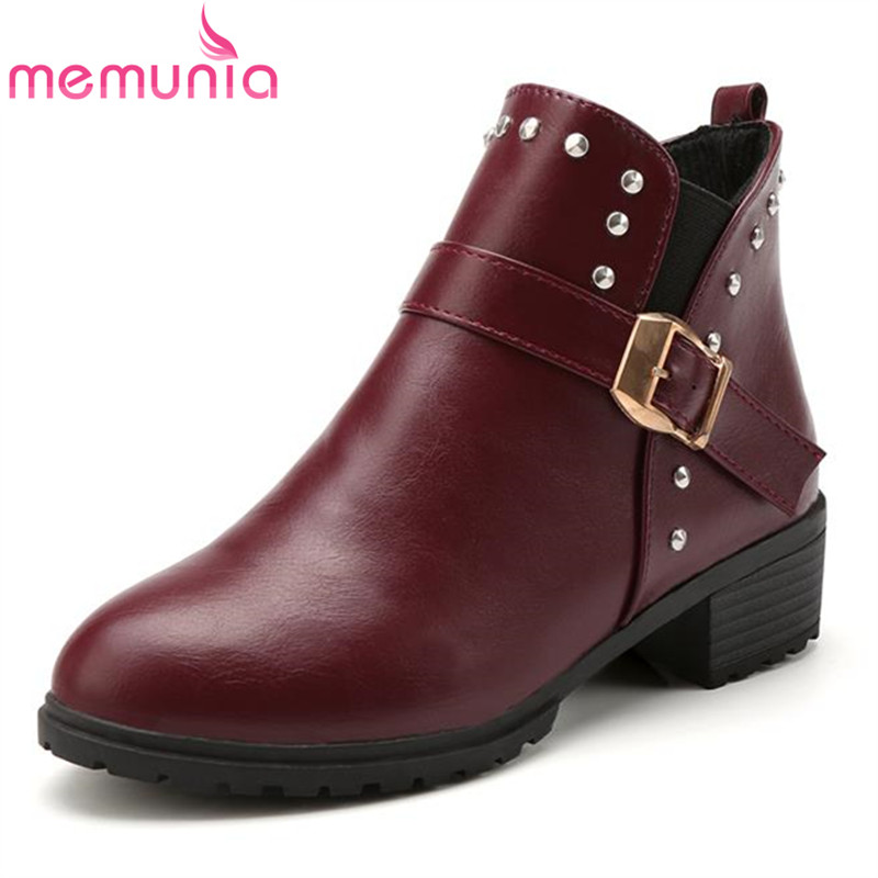 Now hot sale casual buckle elastic band ankle boots round toe college med heel rivets restoring autumn women boots<br><br>Aliexpress